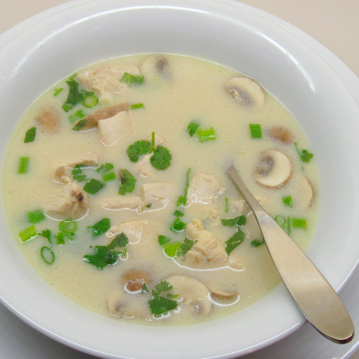 Thai Coconut Chicken Soup (Tom Kha Gai) In the kitchen with Kath