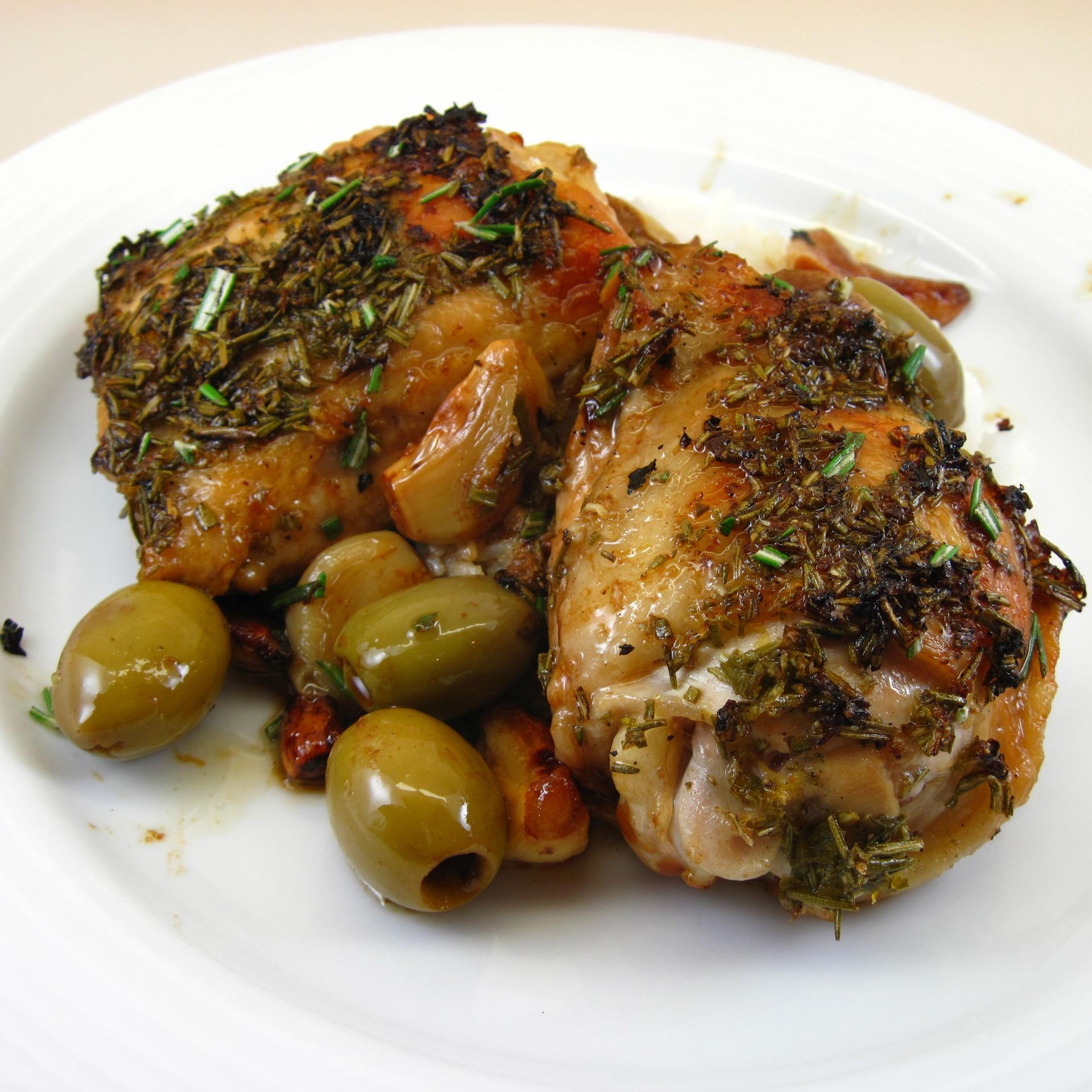 Chicken Garlic With Fresh Herbs Recipe: Roast Lemon-Garlic Chicken With Green Olives