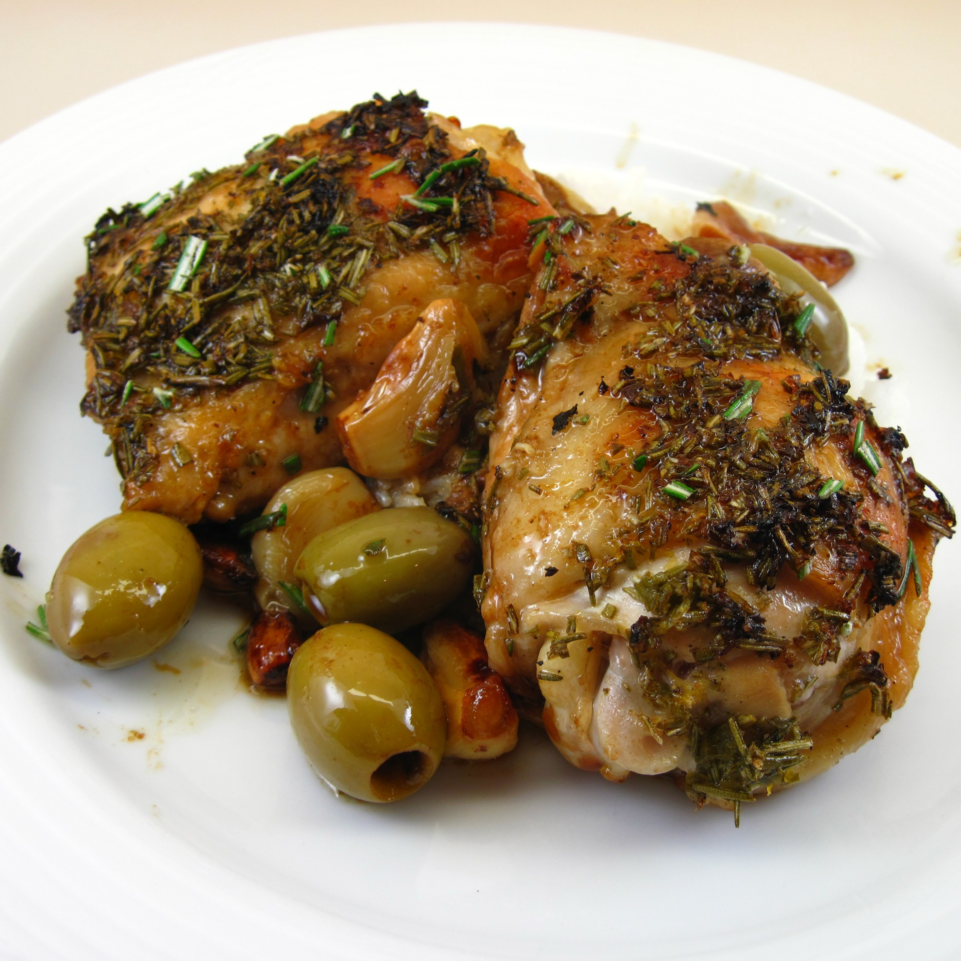 Roast Lemon-Garlic Chicken With Green Olives