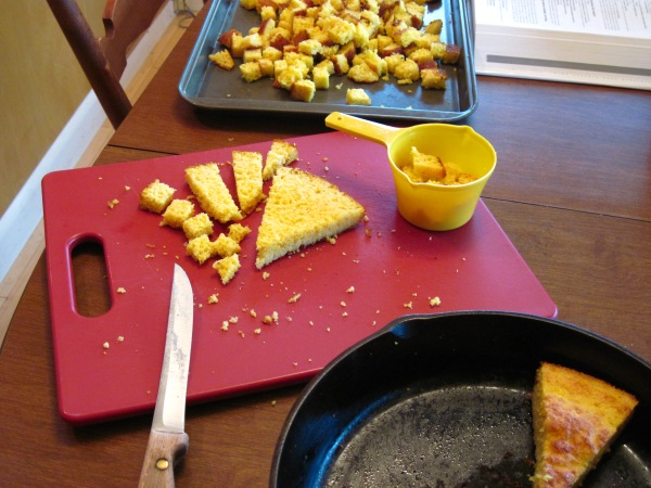Cornbread cut in cubes