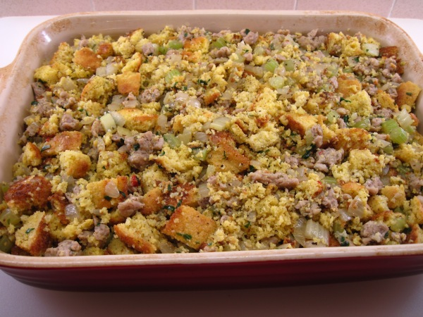Cornbread stuffing ready to bake