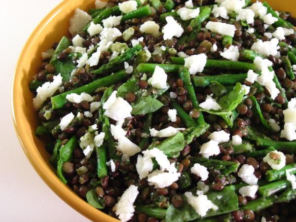 Green lentil, watercress and asparagus salad