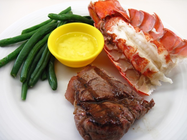 Lobster tail and steak