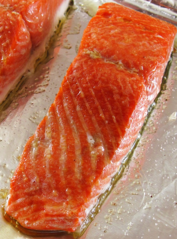 Piece of roast salmon