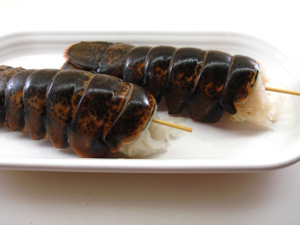 Skewered lobster tails
