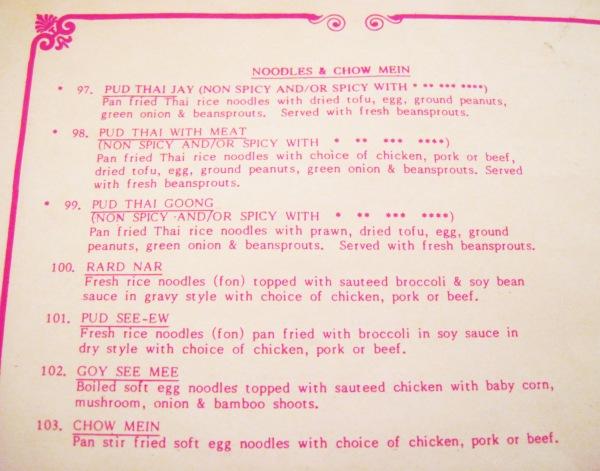 Thai Thai menu
