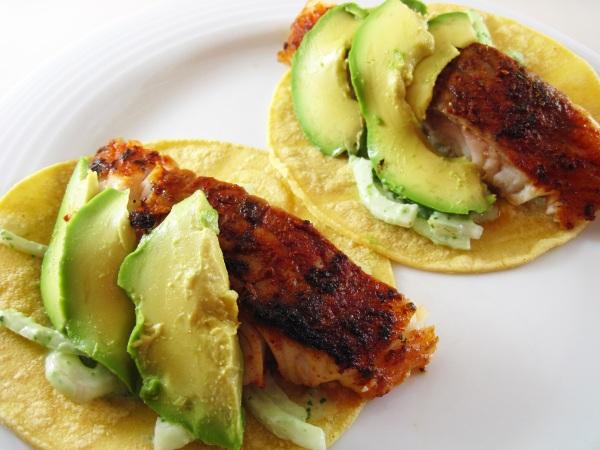 Blackened Lingcod Baja Tacos
