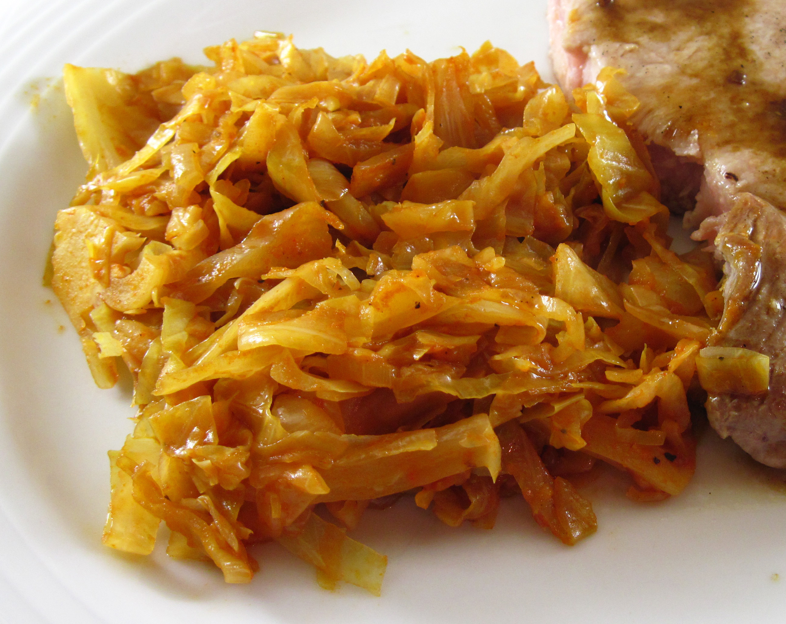 Cabbage Braised with Onions was terrific with Pork Chops à la Julia