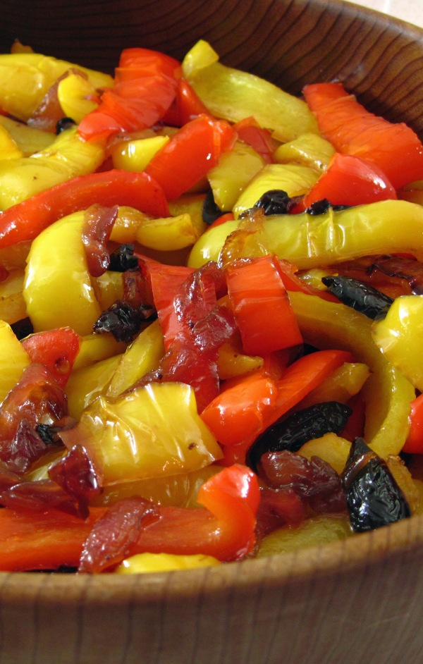 Sweet-and-sour peppers with oil-cured olives - tall