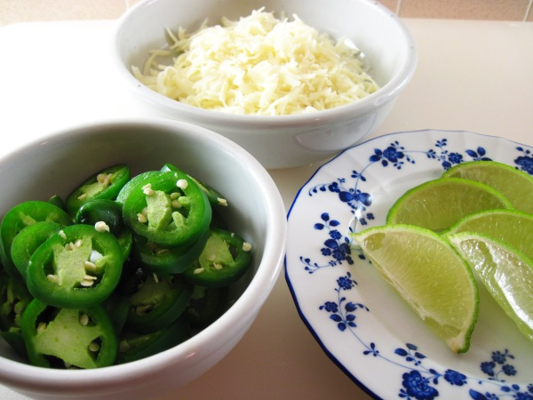 Jalapeno, jack cheese, lime wedges