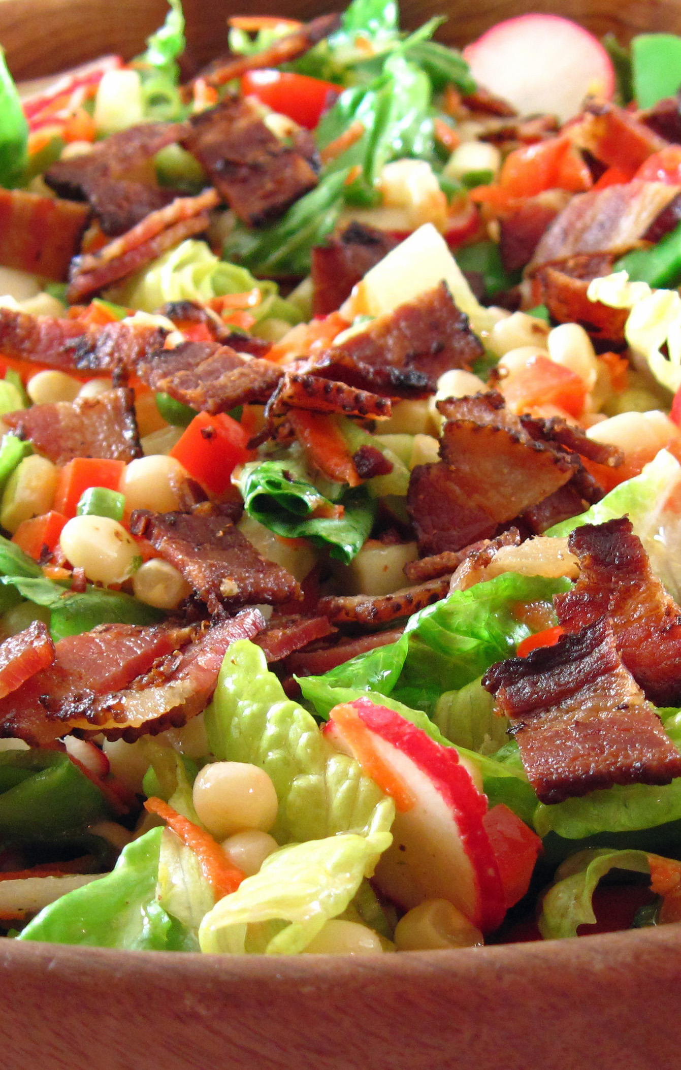 Chop Salad with Corn, Sugar Snap Peas, and Bacon | In the kitchen with ...