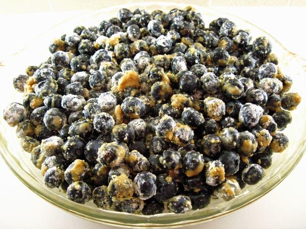 Blueberries in pie plate