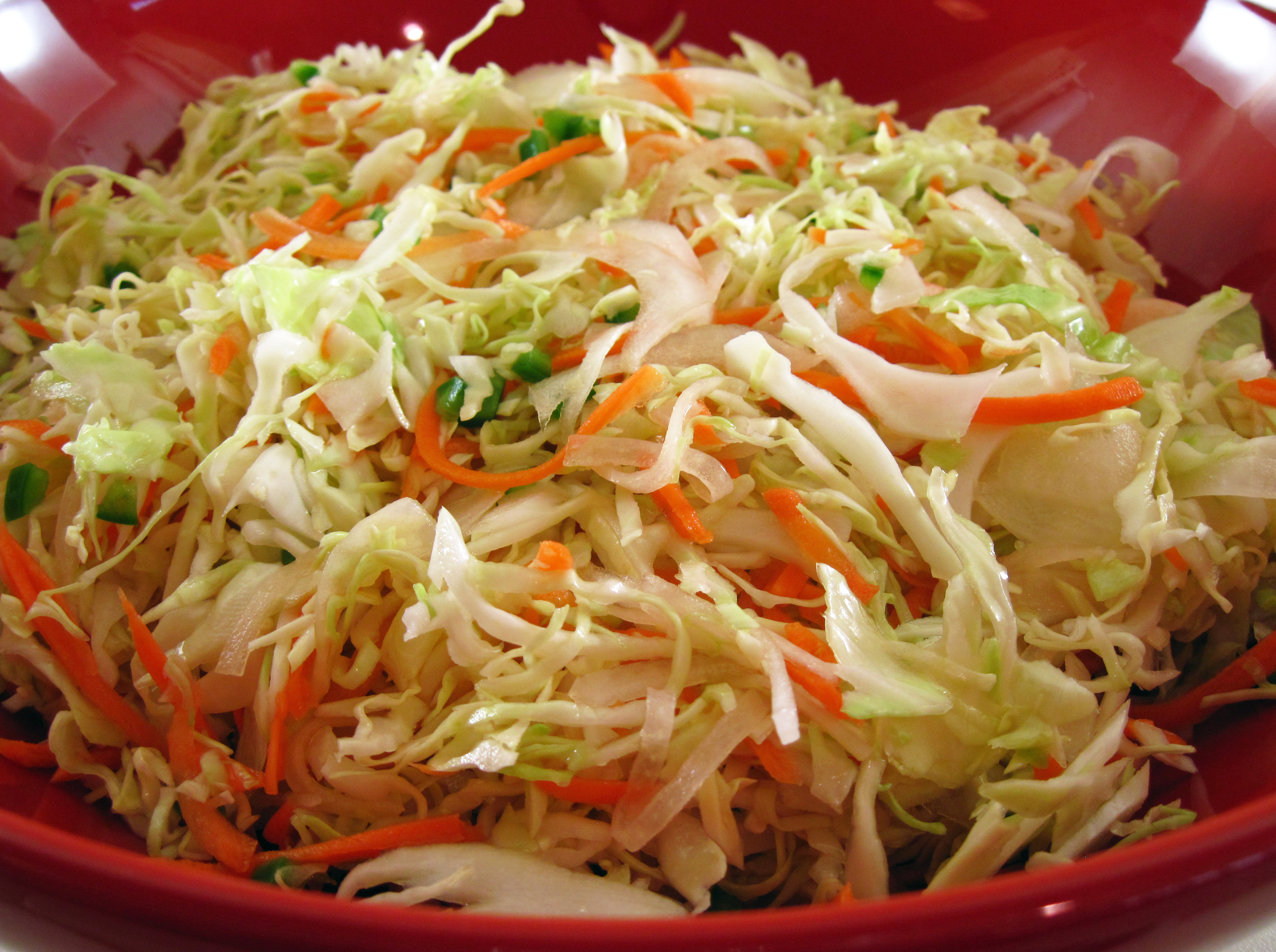 quick curtido salvadoran cabbage slaw in the kitchen