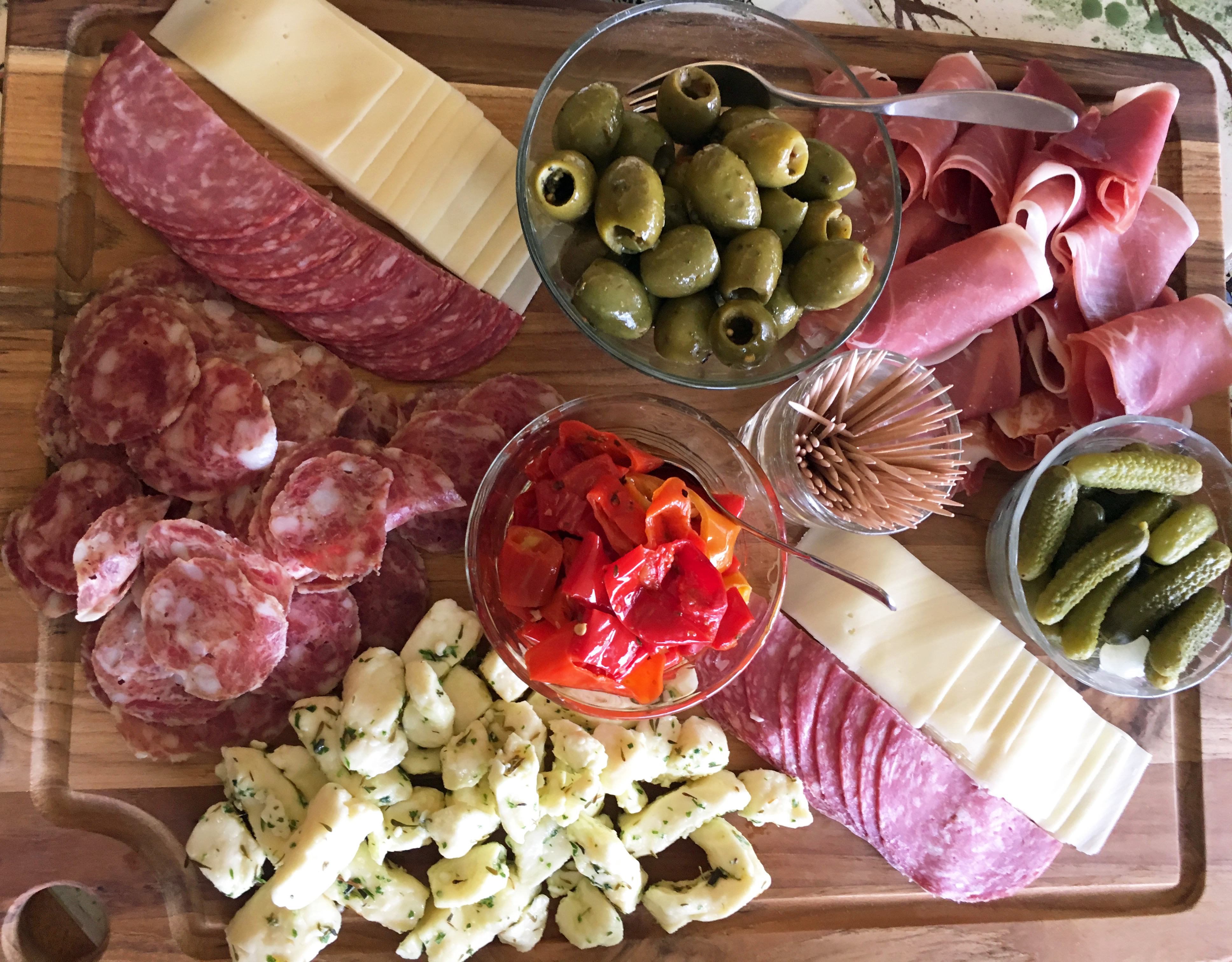 A Simple Charcuterie And Cheese Board In The Kitchen