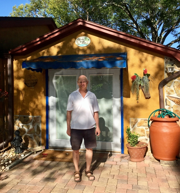 Bob in front of the Lovely Guest House