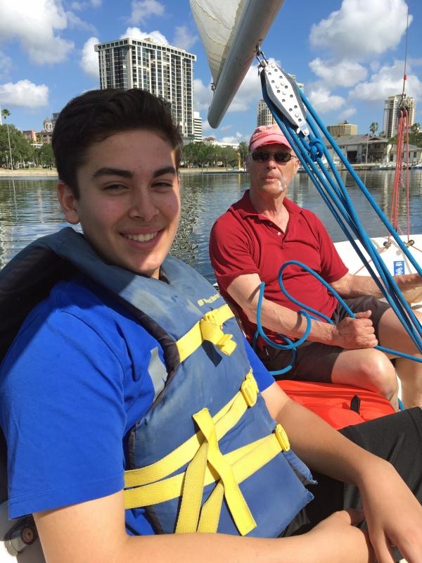 Gabriel and Bob sailing