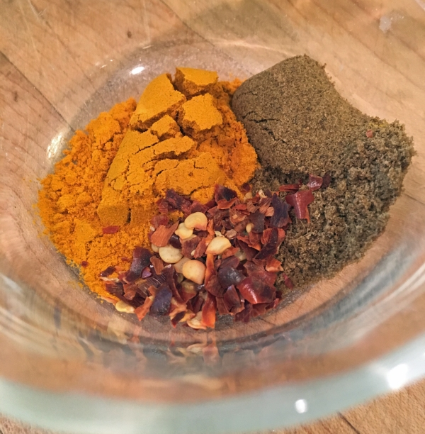 Turmeric, cumin, and crushed red pepper flakes