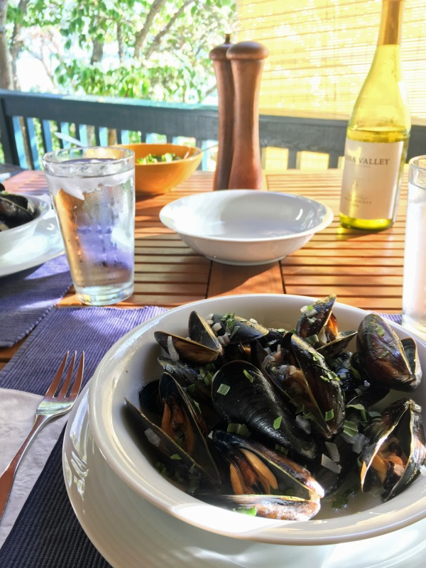 Mussels, salad and chardonnay on the deck