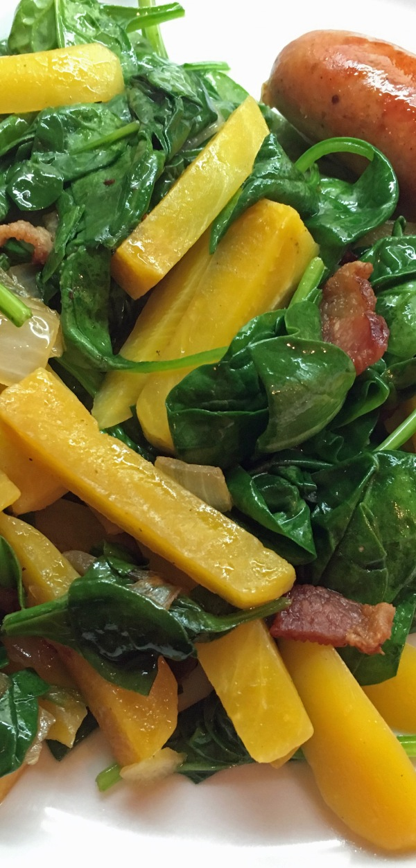 Tall Warm Spinach and Beet Salad