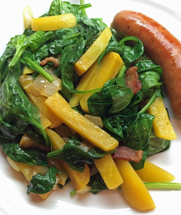 Warm Spinach and Beet Salad with Bacon Dressing (and sausage)