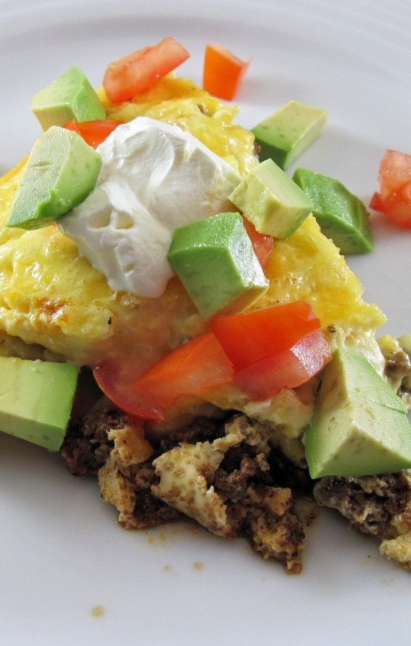 Easy Taco Pie with Sour Cream, tomato, and avocado - Copy
