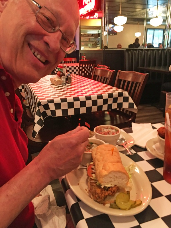 Bob's Oyster Po-Boy, Seafood Gumbo, and Red Beans and Rice
