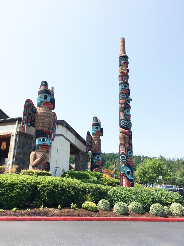 Some of the totem poles at Seven Cedars Casino