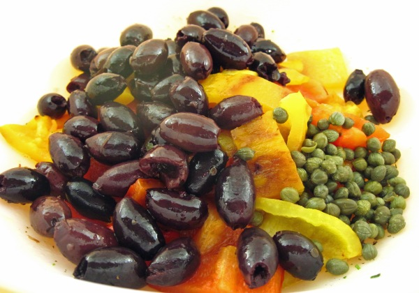 Peppers, olives, and capers in the bowl