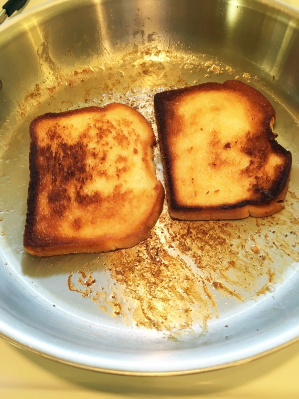toasting bread in bacon grease