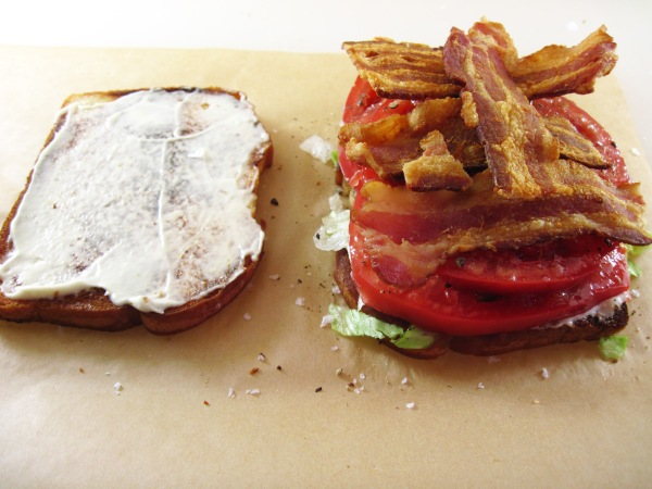 tomato slices and bacon