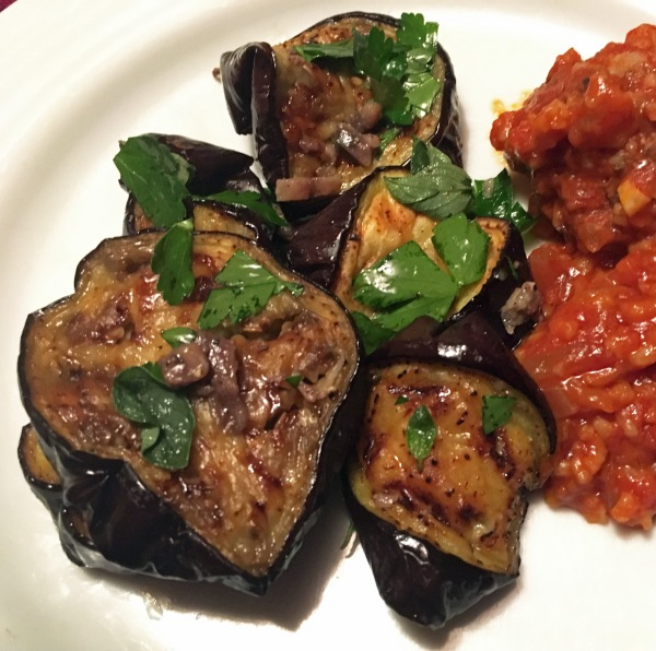 roasted eggplant with anchovies and oregano with porcupine meatballs
