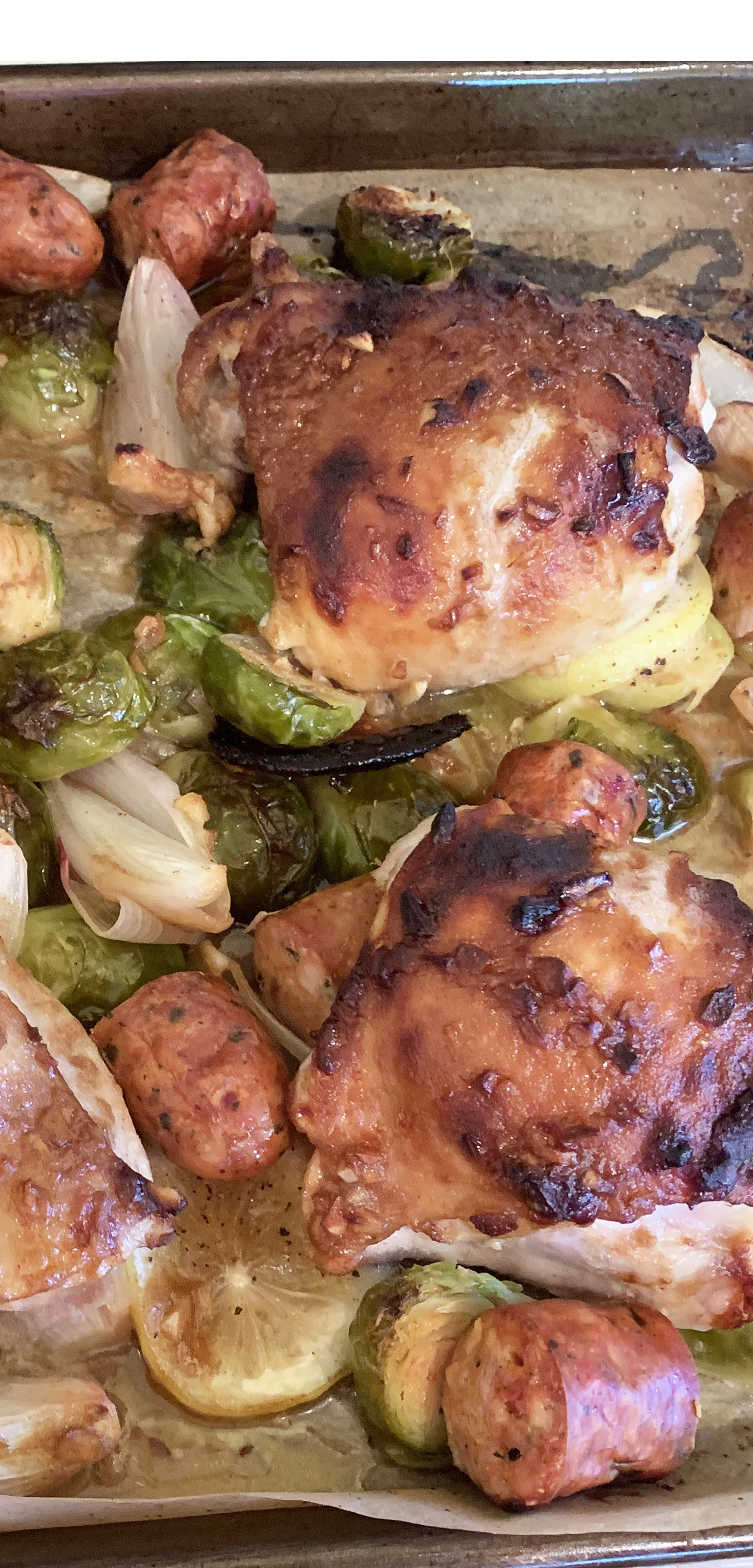 Sheet Pan Chicken, Sausage, and Brussels Sprouts