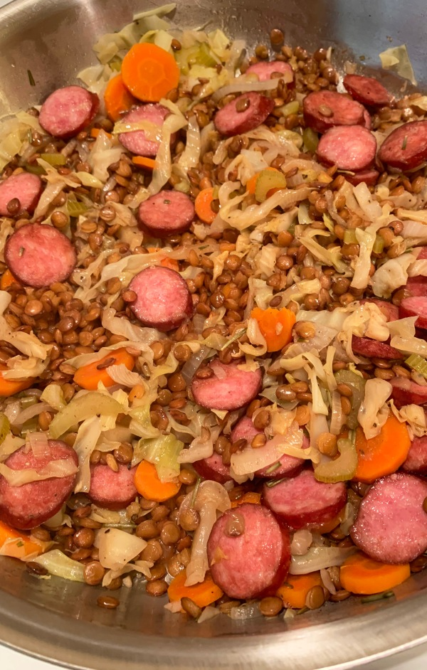 Braised Lentils with Sausage and Cabbage