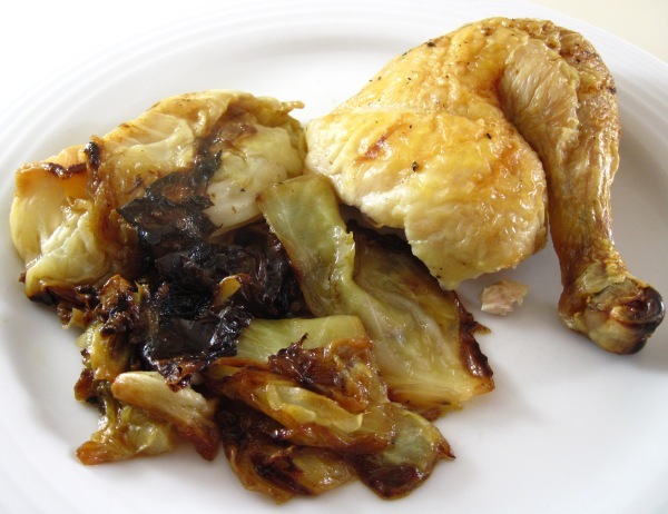 Roast Chicken with Schmaltzy Cabbage