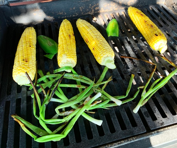 Grilling corn, green onions, and jalapeno